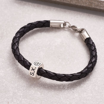 Traveller Gap Year Personalised Leather Bracelet from Scarlett Jewellery