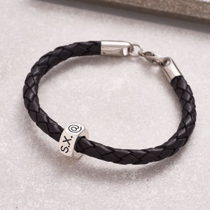 Personalised Traveller Silver And Leather Bracelet - personalised