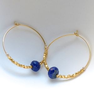 Lapis Lazuli And Fair Trade Hoops 30mm - earrings