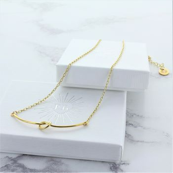 Gold Knot Bar Necklace