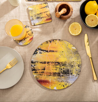 Yellow Round Placemats 'Nomad Texture'