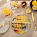 Set Of Four Yellow Round Placemats 'Nomad Texture'