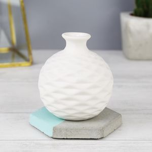 Small White Geometric Wave Decorative Vase - living room