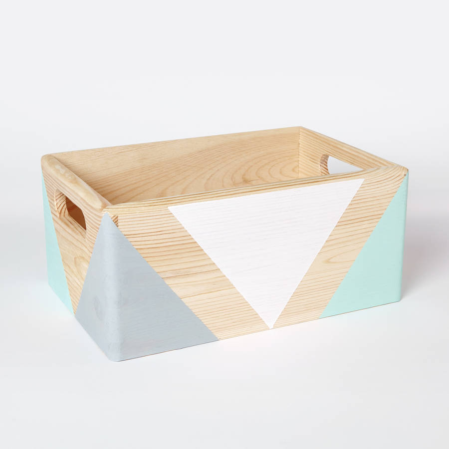 Geometric wooden box with handles two sizes available by for Container en bois