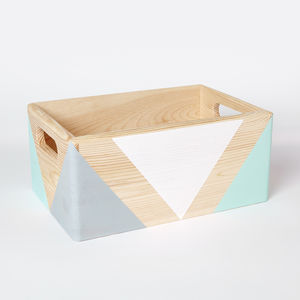 Geometric Wooden Box With Handles - gifts for women