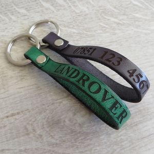 Personalised Leather Keyring - winter sale
