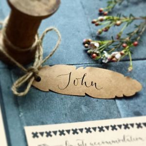 Kraft Feather Place Card Feat. Modern Calligraphy - decoration