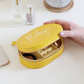 Personalised Oval Travel Jewellery Box In Mustard