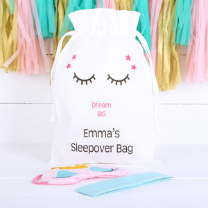 Personalised Girls Sleepover Bag And Accessories