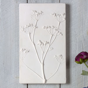 Cow Parsley Large Plaster Cast Tile Framed / Unframed - mixed media & collage
