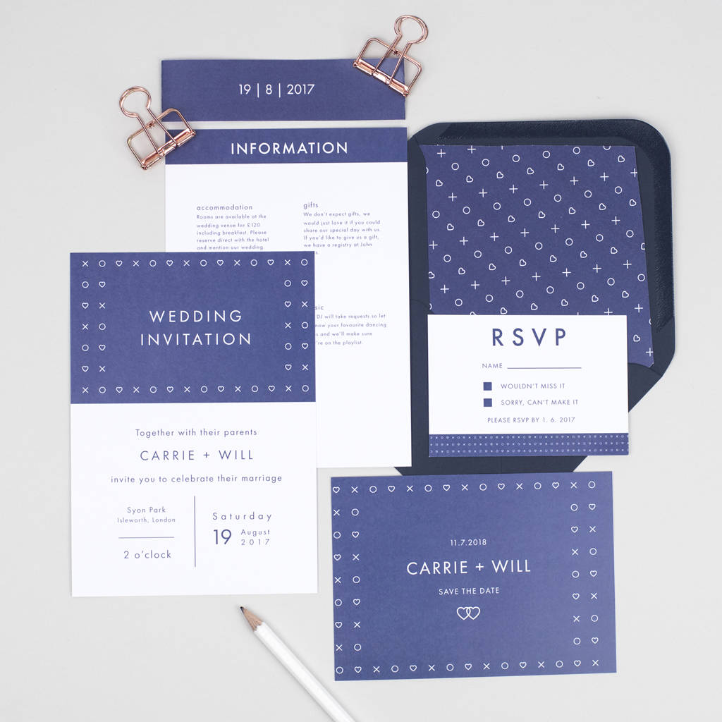 Navy Scandi Wedding Stationery Set navy scandi