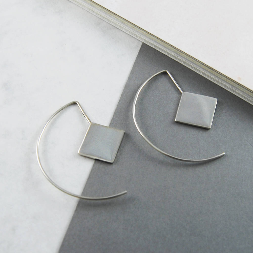 Contemporary Silvers: Contemporary Sterling Silver Square Hoop Earrings By Otis