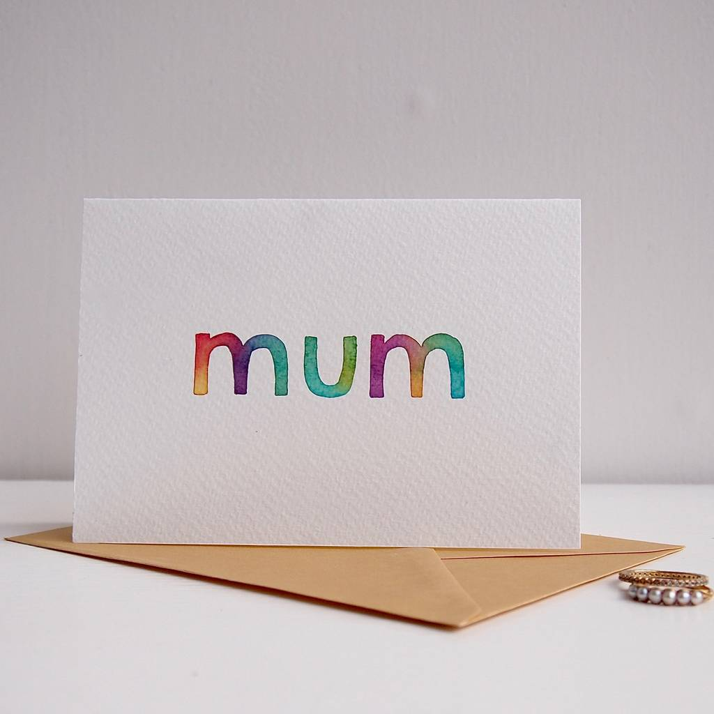 Handmade Watercolour Mothers Day Mum Birthday Card By Kabinshop