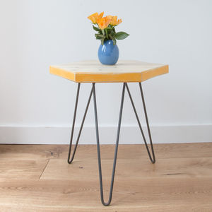 Wooden Hexagon Coffee Table With Marigold Yellow Edges - side tables