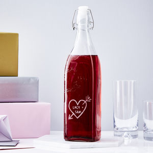 Personalised Carved Heart Glass Bottle - gifts for couples