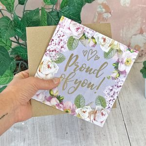 Proud Of You Botanical And Gold Greeting Card
