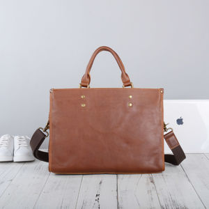 Handmade Leather Briefcase Vintage Look - new in fashion
