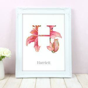 Personalised Floral Initial Name Print - family & home