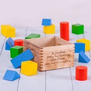 Childrens Personalised Wooden Building Blocks