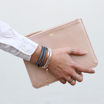 Personalised Luxury Metallic Leather Clutch Bag