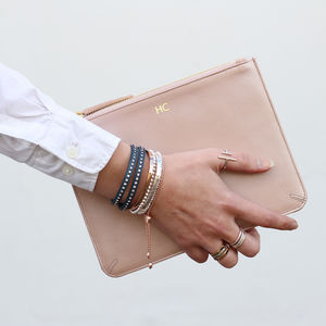 Personalised Luxury Metallic Leather Clutch Bag - wedding thank you gifts