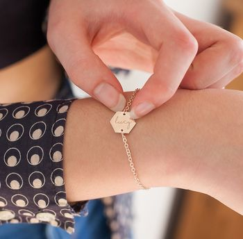 Personalised Lealia Contemporary Hexagon Bracelet