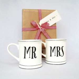 Set Of Mr And Mrs Mugs ~ Boxed And Gift Wrapped - tableware