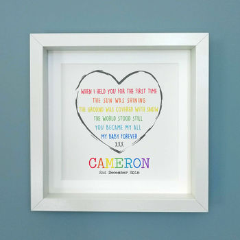 Personalised New Baby Rainbow Poem Framed Print