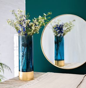 Azure Blue And Gold Embossed Vase