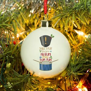 Bone China Drummer Boy Personalised Bauble - tree decorations