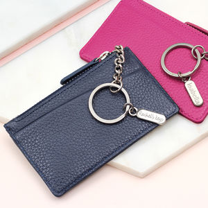 Leather Purse With Personalised Silver Charm Keyring - gifts for her