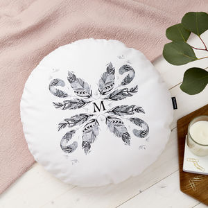 Monogrammed Round Feather Cushion - gifts for her