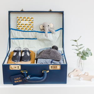 Personalised Lifetime Memory Suitcase Keepsake Box - 3rd anniversary: leather