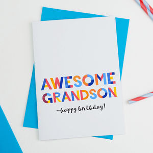 Awesome Grandson All Purpose Personalised Card