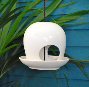 White Ceramic Bubble Bird Feeder