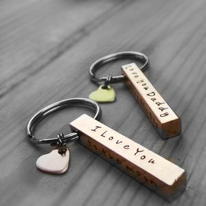 Personalised Copper Bar Keyring For Her