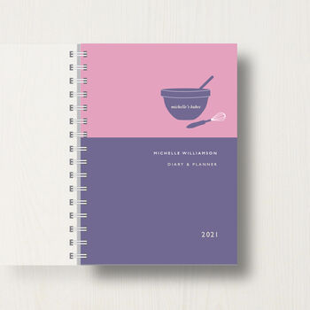 Personalised 2021 Diary for Baking Lovers in gold/dark blue