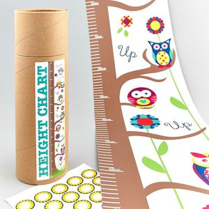 Owl Height Chart With Stickers - children's room