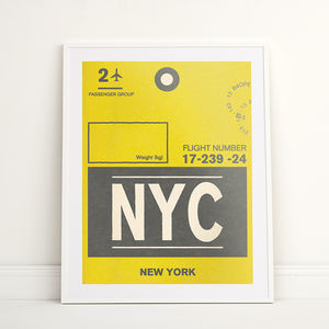 Personalised New York Travel Luggage Label Print