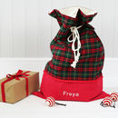 Luxury Personalised Christmas Santa Sack Green Tartan