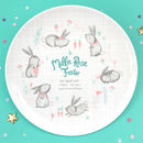 'Hoppy Baby' Personalised Baby Girl Birth Plate