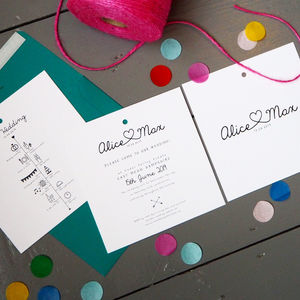 Colour Pop Heart Wedding Invitations