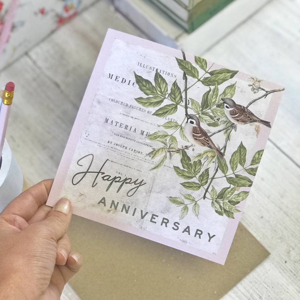 Happy Anniversary Vintage Botanical Greeting Card By Lucy