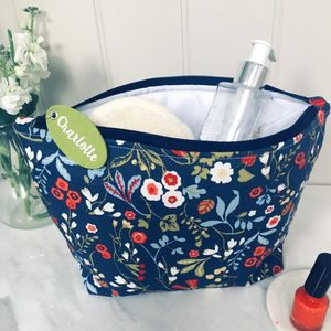 Floral Wash Bag With Personalised Felt Tag
