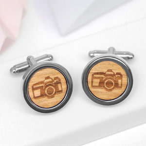 Personailsed Wooden Camera Cufflinks - jewellery gifts for fathers