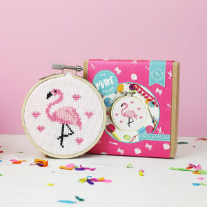 Flamingo Mini Cross Stitch Craft Kit - stocking fillers for her