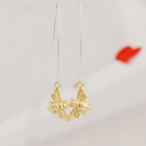 Bee Gold Drop Earrings - earrings