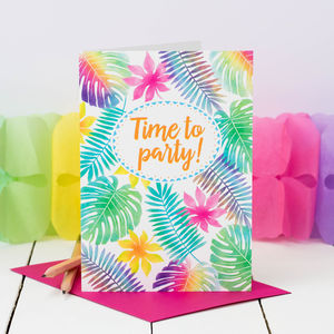 Birthday Card 'Time To Party!' Jungle Leaves