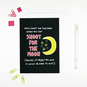 Shoot For The Moon Good Luck Card - good luck cards