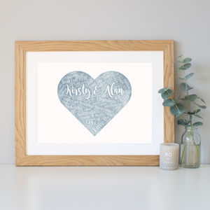 Personalised 'Paper' 1st Anniversary Word Art Gift